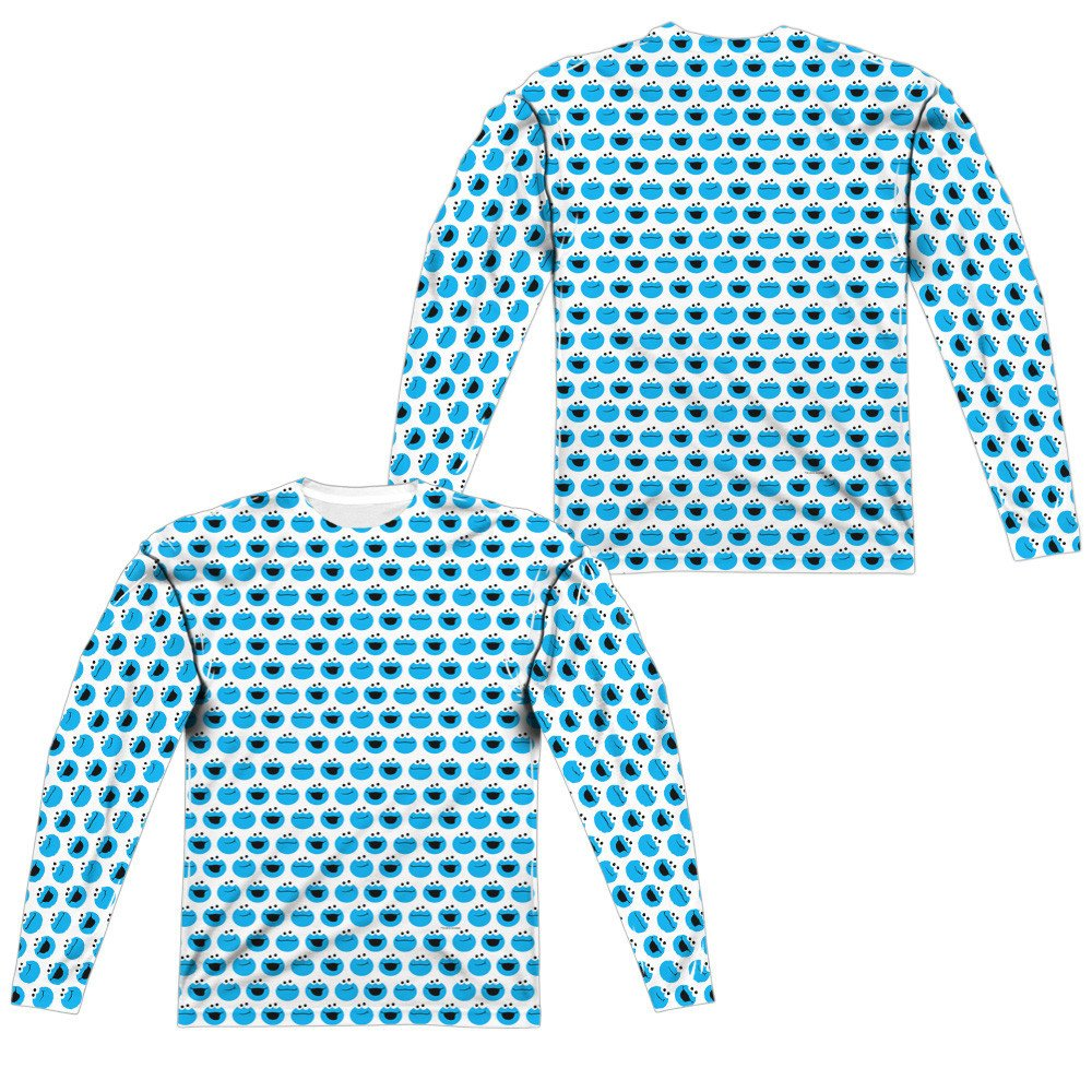 Simple Cookie Pattern Adult Long Sleeve T-Shirt Sesame Street