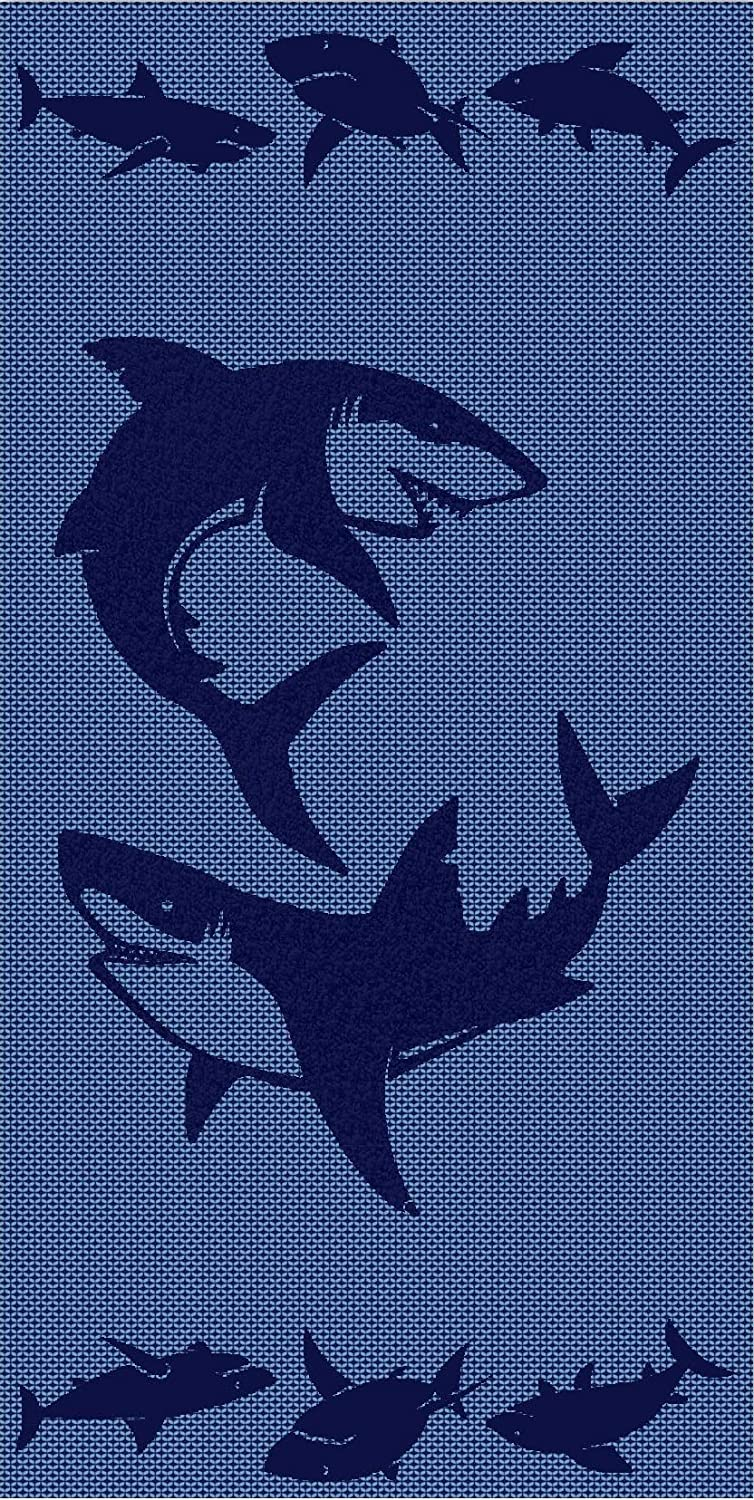 Apollo Towels Sharks Sculpted Double Jacquard Turkish Beach Towel 30x60 inches
