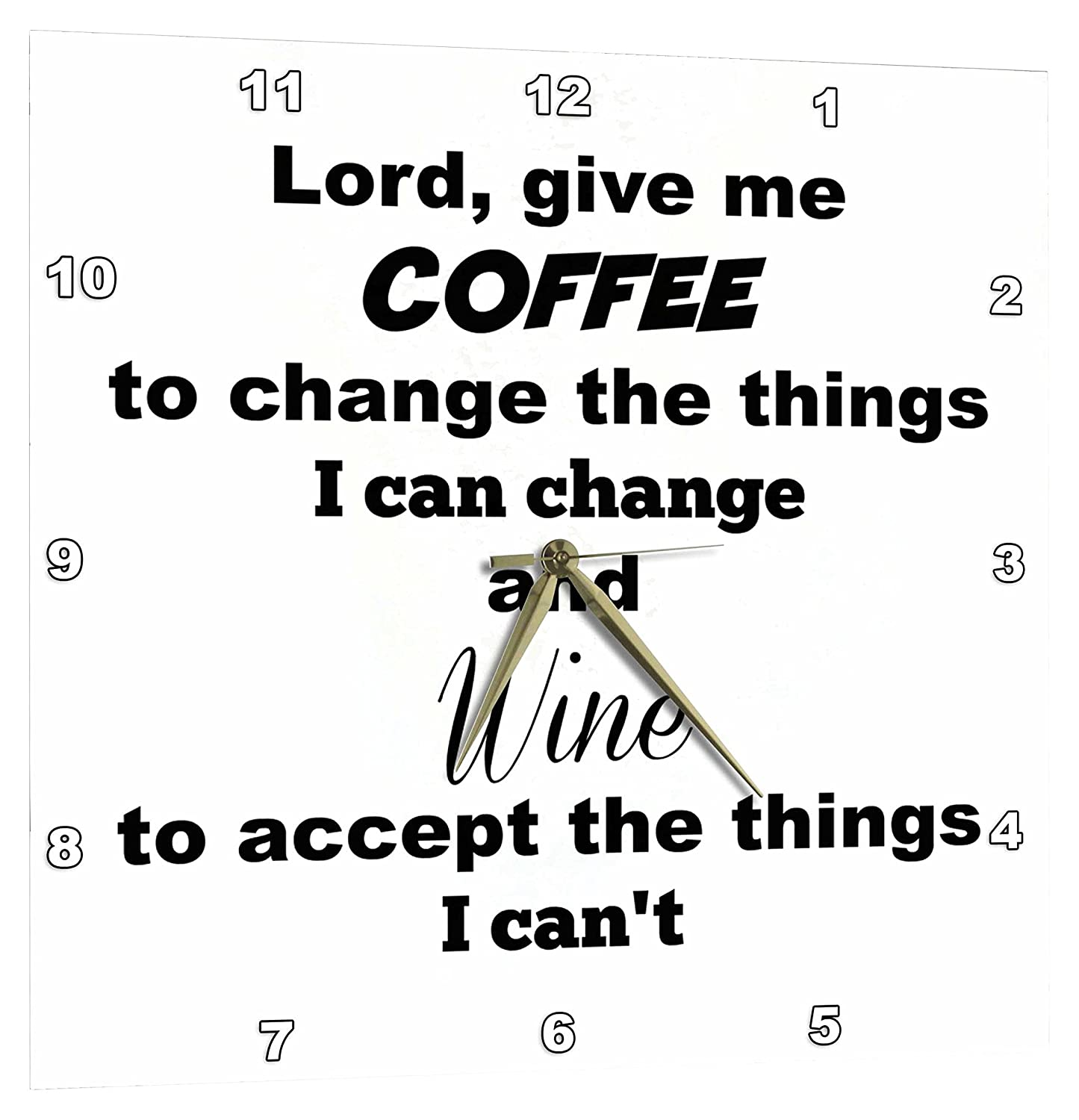 Give Me Coffee and Wine 3dRose Lord DPP/_202758/_1 10 by 10-Inch Wall Clock