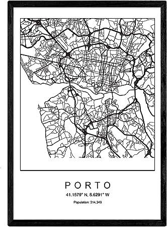 Nacnic Lámina Mapa de la Ciudad Porto Estilo nordico en Blanco y ...
