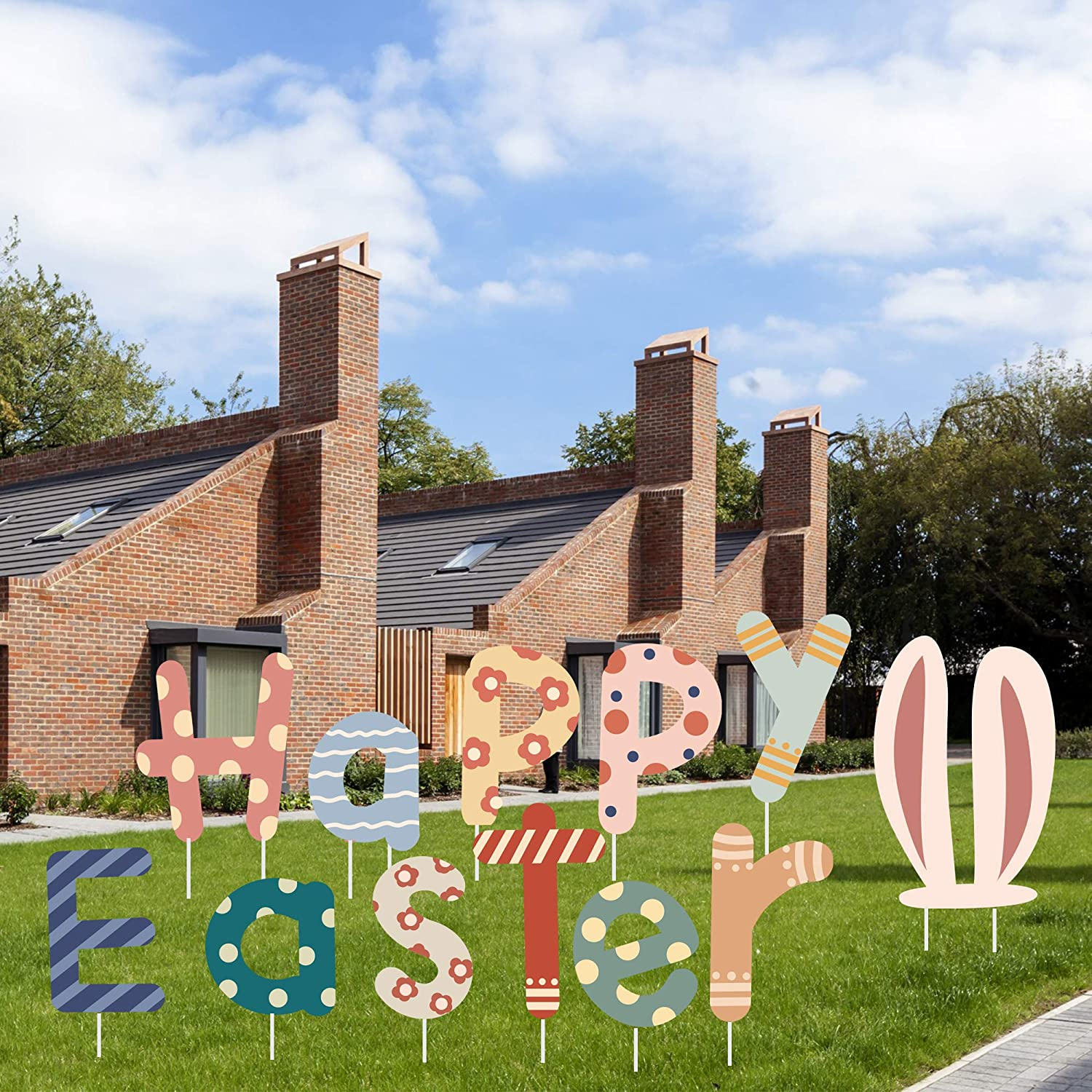 AuLinx Easter Yard Signs Decorations Outdoor Lawn Decorations with Stakes - Funny Bunny and Egg Corrugated Yard Signs Decor for Easter Hunt Game, Party Supplies Decor Ornaments, Easter Props(Easter-2)