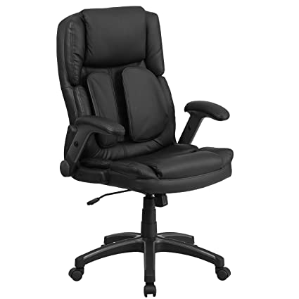 Charmant Flash Furniture Extreme Comfort High Back Black Leather Executive Swivel  Chair With Flip Up Arms