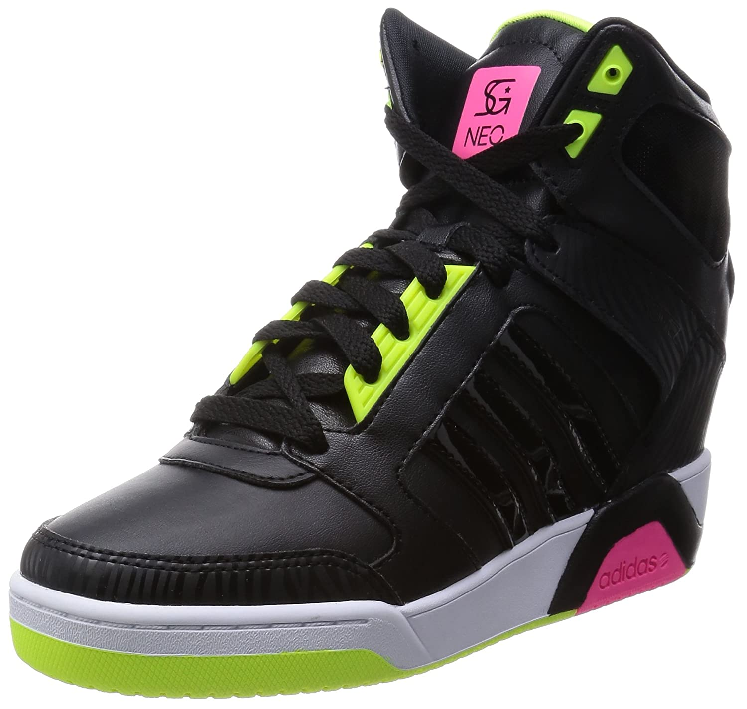 size 40 72796 7bfb5 adidas neo Women s Bb9Tis Wedge Sg Core Black, Core Black and Solar Pink  Sneakers - 7 UK  Buy Online at Low Prices in India - Amazon.in