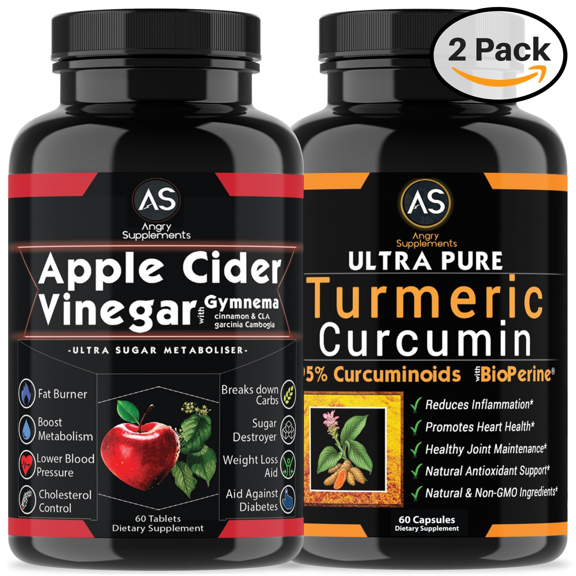 Apple Cider Vinegar Pills for Weightloss and Turmeric Curcumin [2 Pack Bundle] Natural Detox Remedy Includes Gymnema, Garcinia, & BioPerine for Complete Diet and Health - Best Starter Kit or Gift. by Angry Supplements