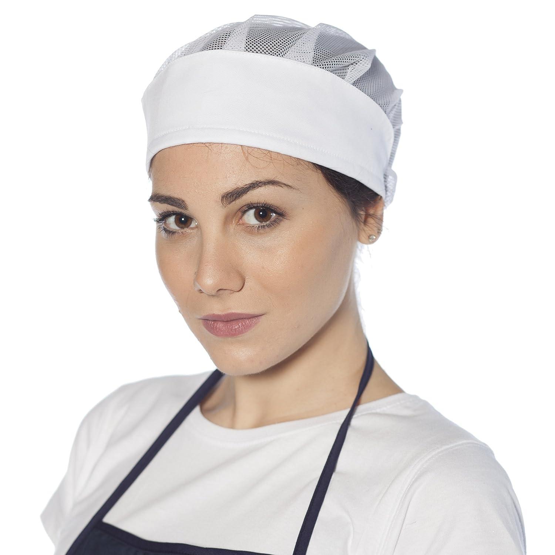 5 PEZZI !! CUFFIA DA DONNA BIANCA CON RETE - Per lavoro/Alimentari/Sanitario/Ristorazione