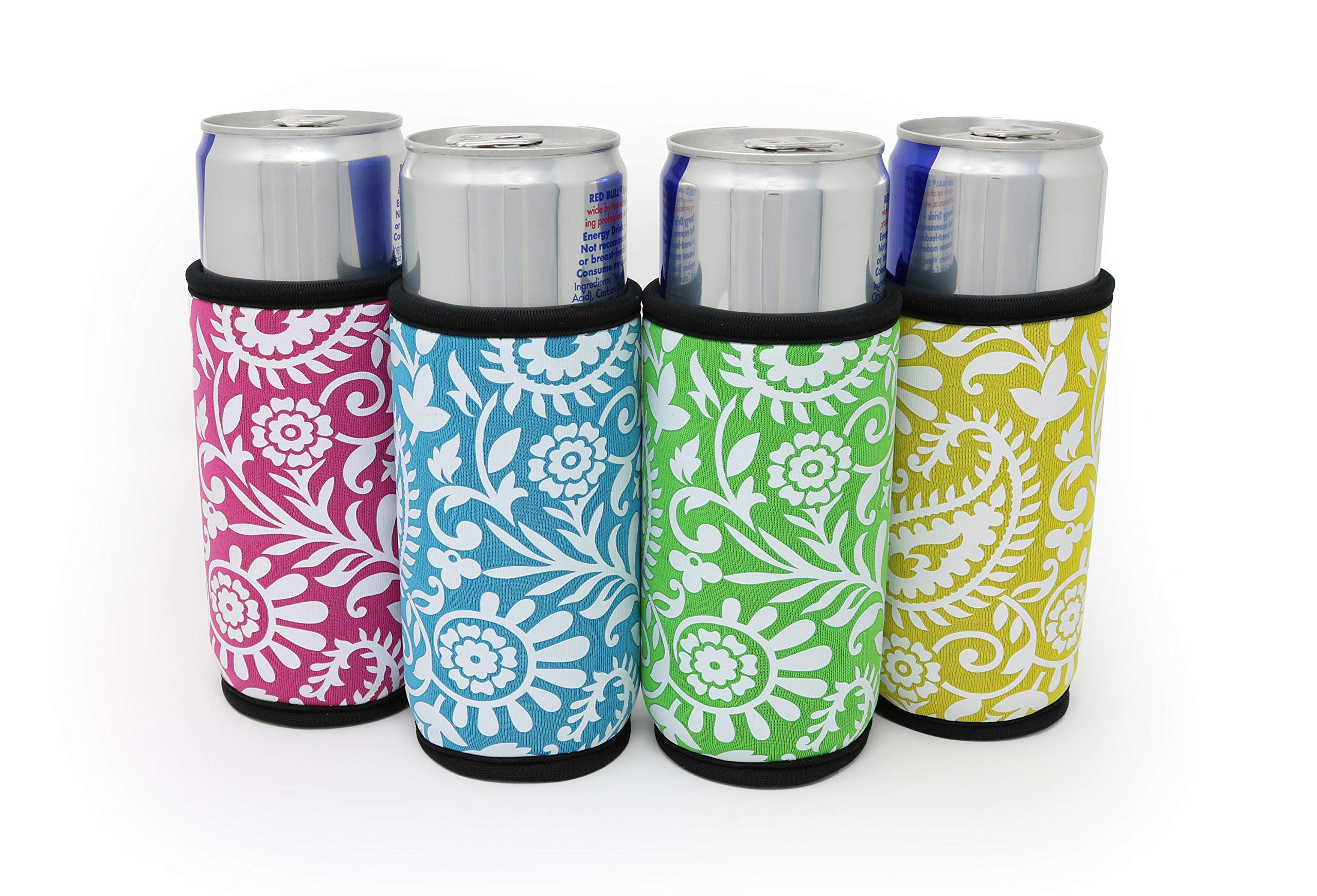 Supercoolies™ - 4 Paisley Neoprene Slim Can Sleeves - Fits skinny 12 oz Energy Drink & Beer Slim Cans - Pink, Green, Light Blue, Yellow - Extra Thick Neoprene with Stitched Fabric Edges