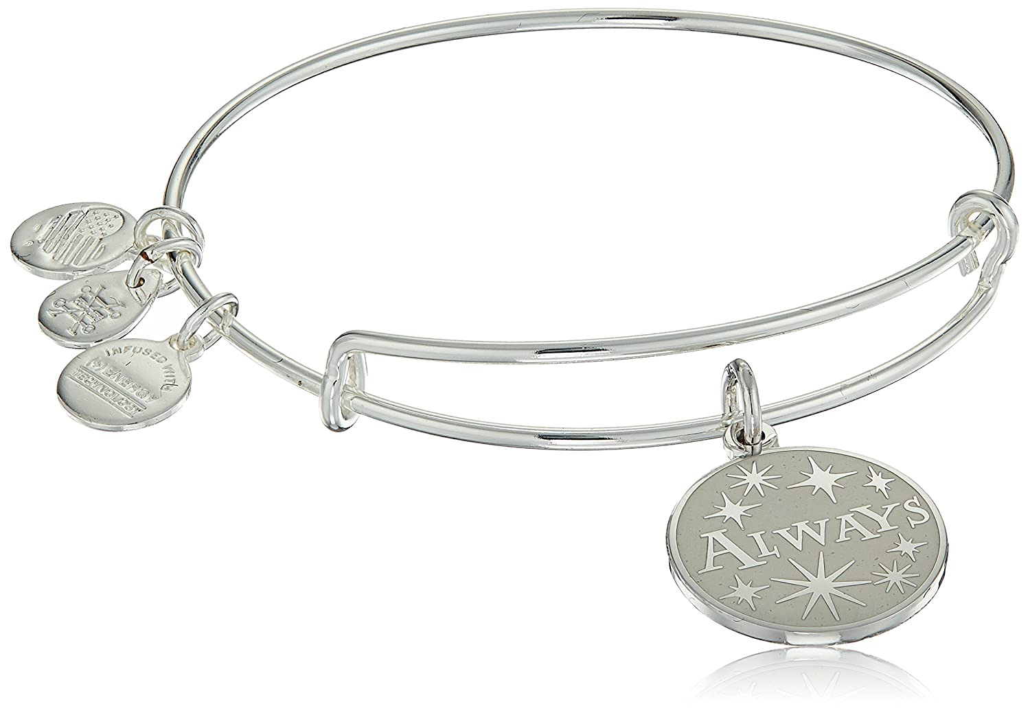 Alex and Ani Womens Harry Potter, Always Bangle Bracelet Alex and Ani Harry Potter Always EWB Shiny Silver Expandable