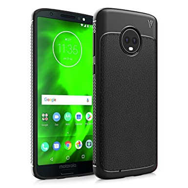 new product e36ec ef017 Motorola Moto G6 Case, Ultra Slim Flexible TPU Shock Absorption and Litchi  Skin Bumper Protective Cover Case for Motorola Moto G6 5.7