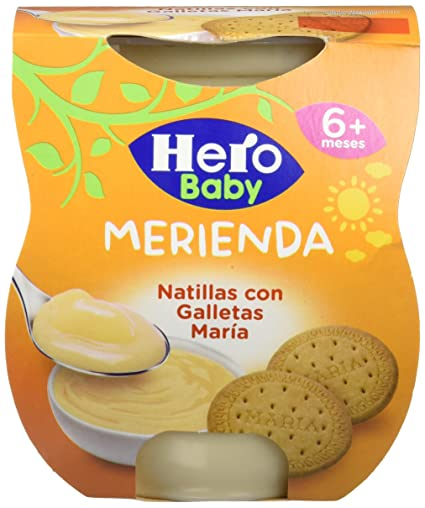 Hero Baby Merienda Natillas Galleta - Pack de 2 x 130 g - Total: 260
