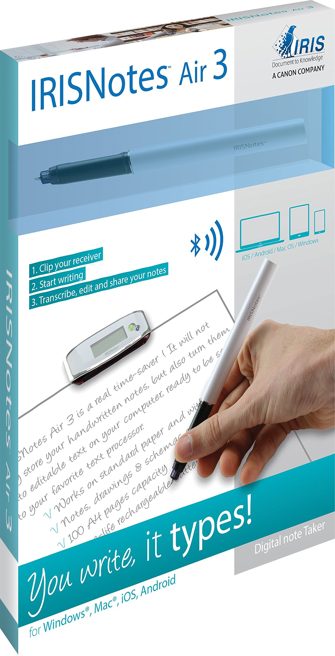 IRISNotes 3 Air Bluetooth SMARTPen PRO Digital Note Taker Rechargeable Battery by USA Inc (Image #3)