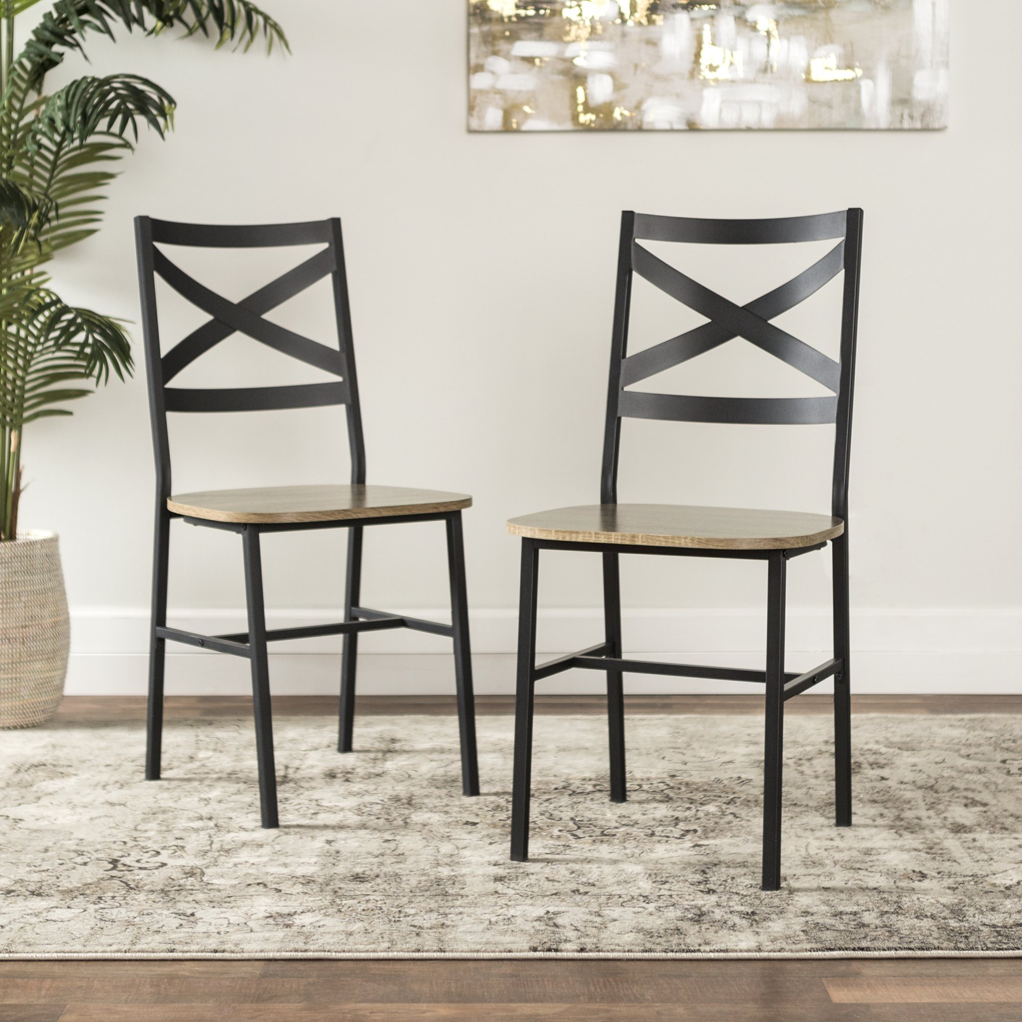 WE Furniture AZH18AI2AG Dining Chairs, Set of 2, Driftwood