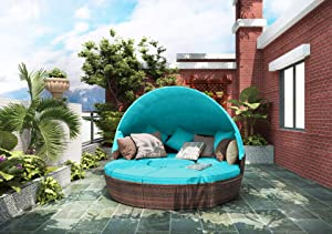 Lucakuins Patio Furniture Outdoor Daybed with Retractable Canopy Wicker Furniture Sectional Seating with Washable Cushions for Patio Backyard Porch Pool Round Daybed Separated Seating (Blue-A)