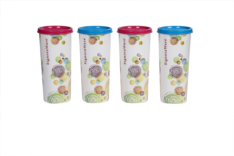 Signoraware Jumbo Velvet Plastic Tumbler Set, 500ml, Set of 4, Multicolour