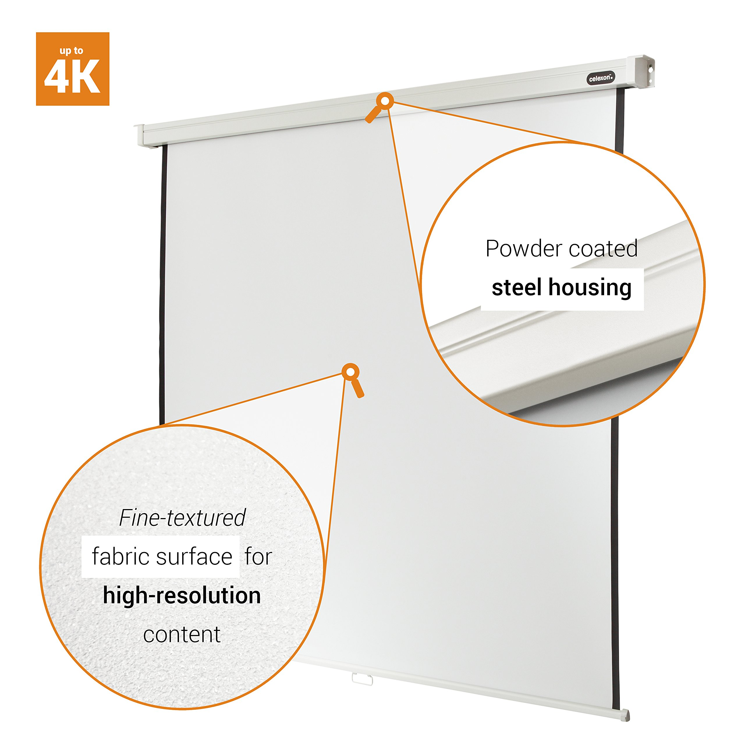 "celexon 122"" Manual Pull Down Projector Screen Manual Professional, 85 x 85 inches viewing area, 1:1 format, Gain factor of 1.2 by Celexon (Image #3)"