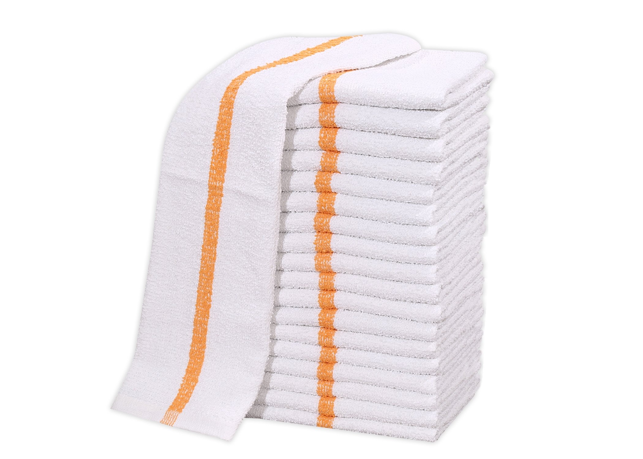 12 PC New 100% Cotton White Restaurant Bar Mops Kitchen Towels 28oz (1 DOZEN ) (12, Gold Stripe)