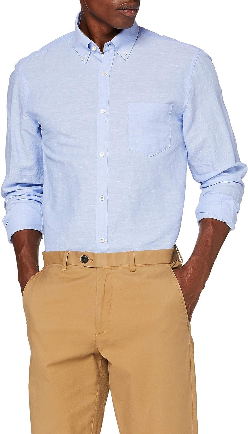 Cortefiel Lino Liso BD Camisa Casual para Hombre: Amazon.es: Ropa y accesorios