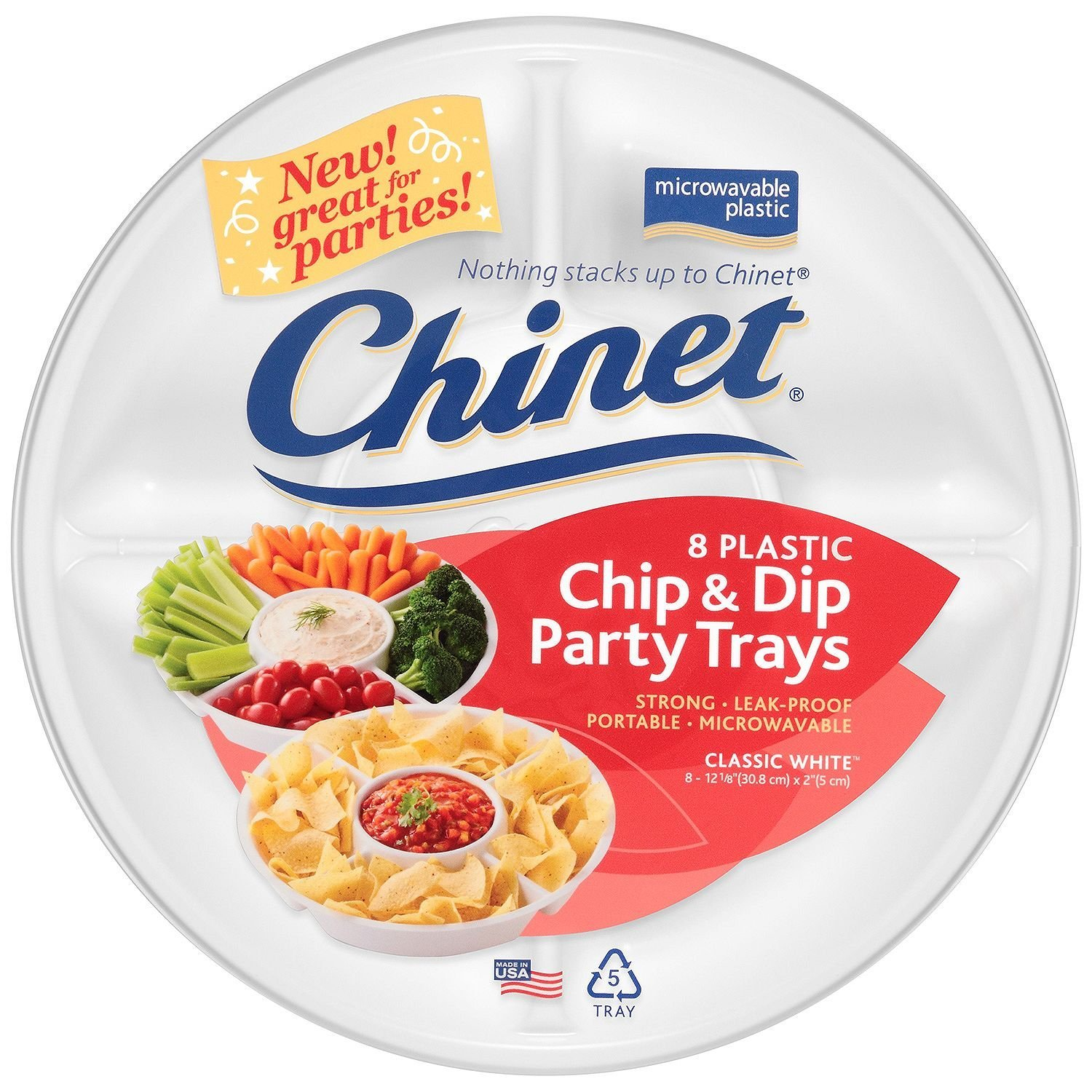 Chinet Chip and Dip Party Trays, 8 Count COMINHKPR106337