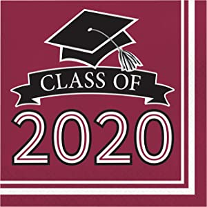 Creative Converting Class of 2020 Burgundy Grad Napkins, 6.5