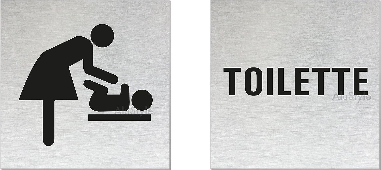 "Aluminium Edelstahlschilder-Optik T/ürschild-Toilette/"" T/ürschild-Wickelraum 80x80 mm 2er-Set Nr.11908-S vollfl/ächige Selbstklebeausstattung"