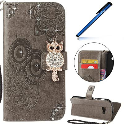 Coque Samsung Galaxy A5 2017, Housse Étui Samsung Galaxy A5 2017, Ysimee Samsung Galaxy SM-A520F Étui en Cuir Case Luxe Diamant Chouette Portefeuille Folio Leather Flip Case Cover Wallet Pouch Protection Coque a