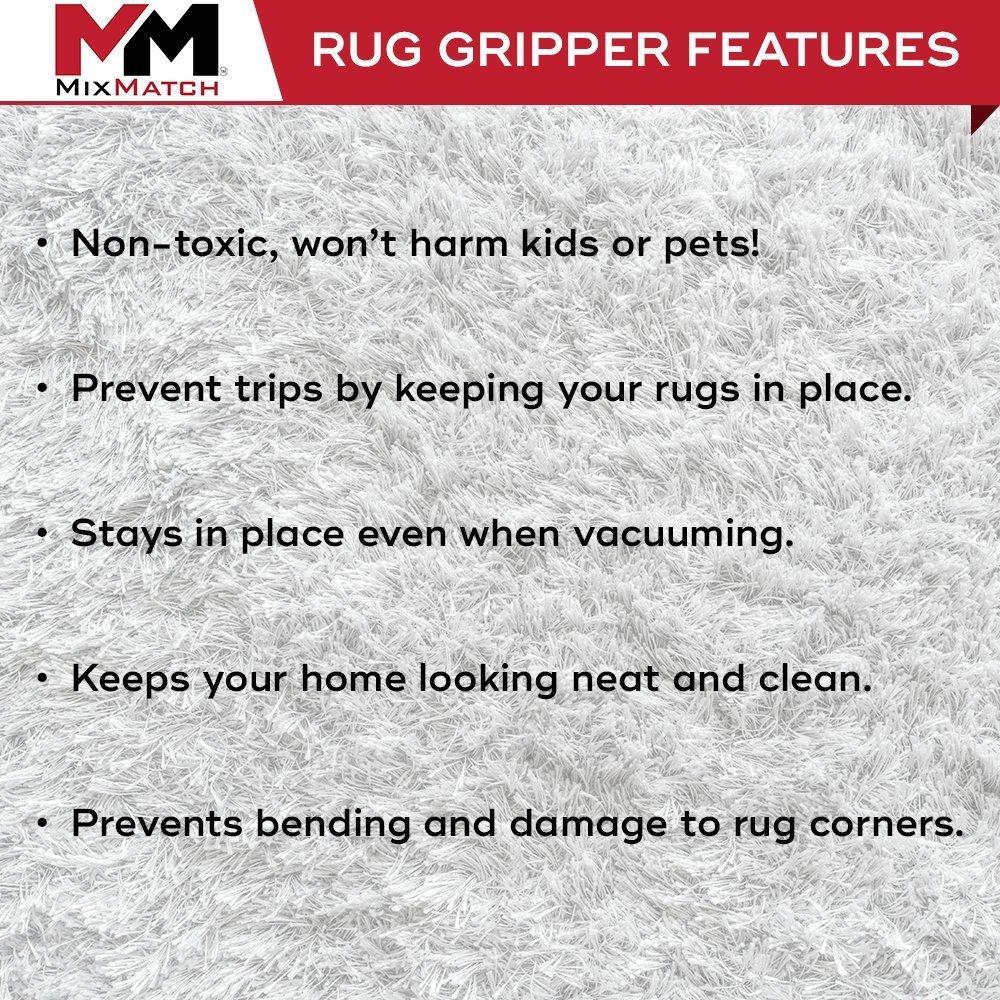MixMatch Rug/Carpet Gripper-Holder Pads - Anti Curling Non Slip Carpet Anchors (8) - Super Sticky Reusable Rug Holders Placers Perfect for Wood, Tile & Laminate Floor Anti Slip, Rug to Rug/Carpet