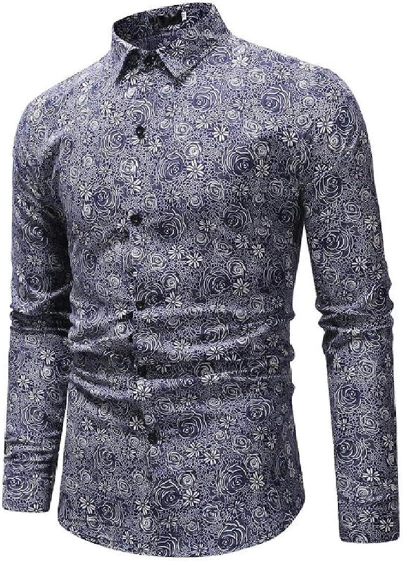 Pandapang Mens Casual Floral Print Long Sleeve Button Front Slim Fit Shirts