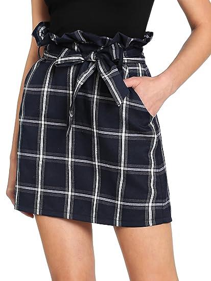 faeef74b98 SweatyRocks Women's Ruffle High Waist Plaid Skirt A-Line Mini Skirts with  Belt (Large, Navy) at Amazon Women's Clothing store: