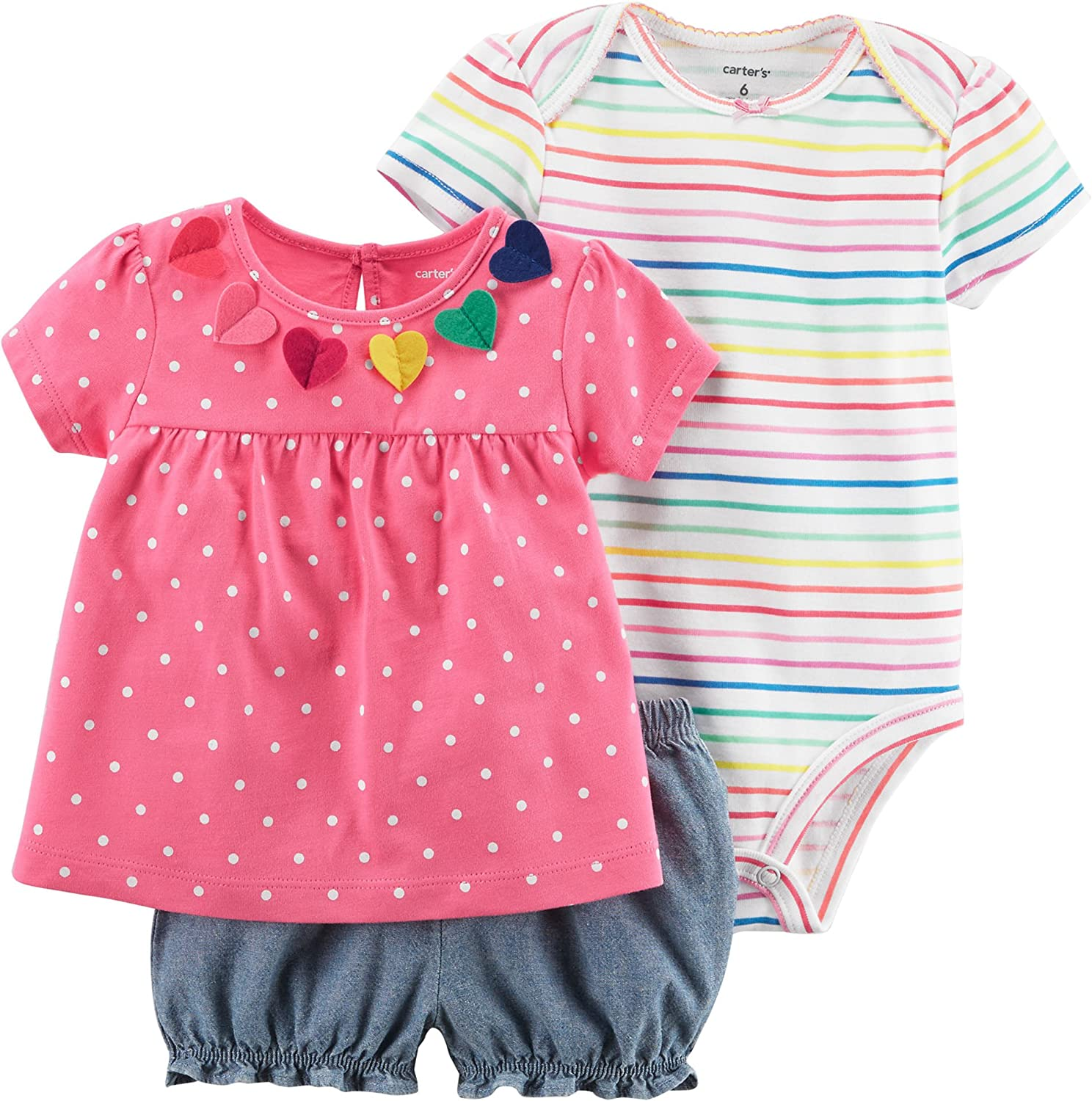 Carters Baby Girls Boho /& Polka Dots 3-Piece Set