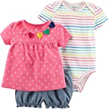 Carter's Baby Girls' 3 Piece Bodysuit and Diaper