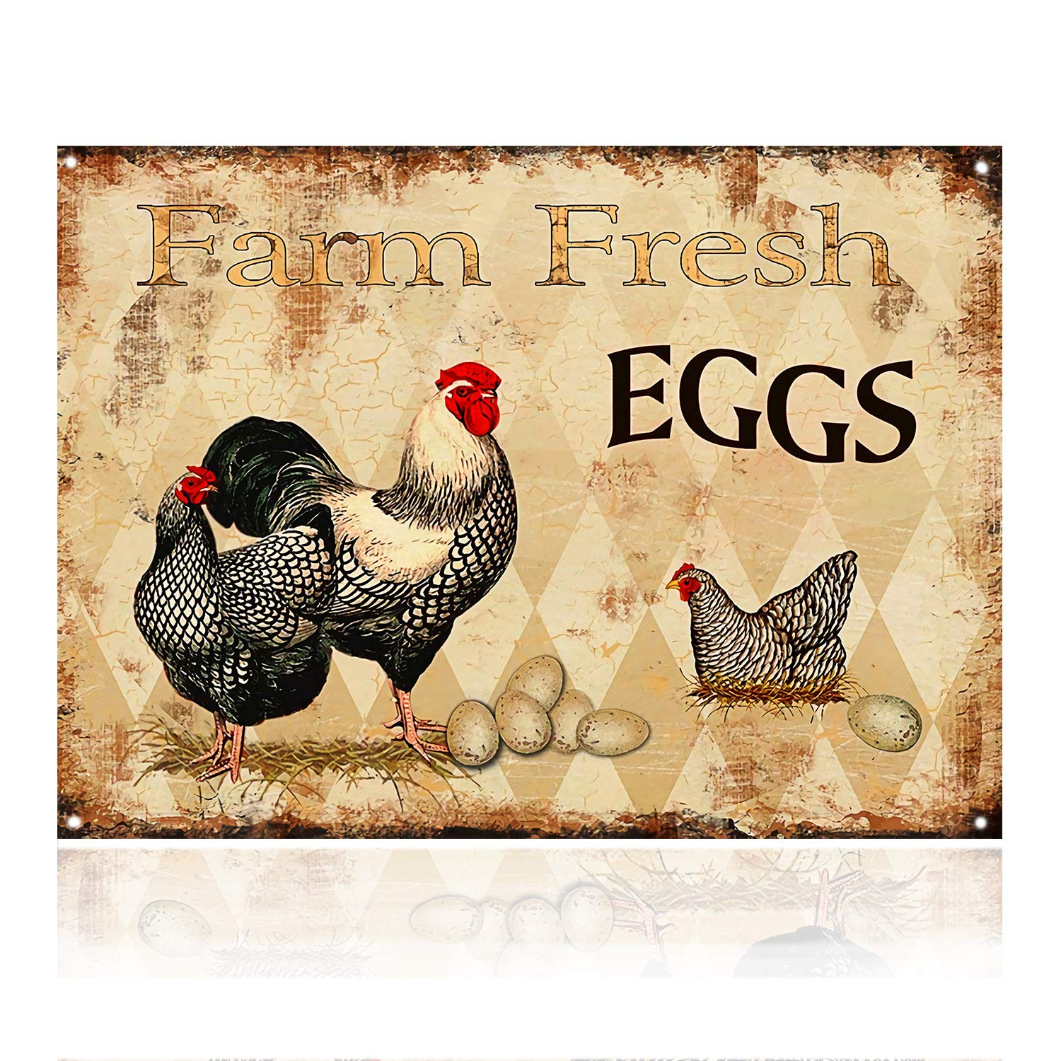 M-Mount Tin Signs Farm Fresh Eggs Designs Coffee Time Retro Vintage Decor Metal Bar Country Home Bedroom Creative Wall Restaurant Hang Sign12x8