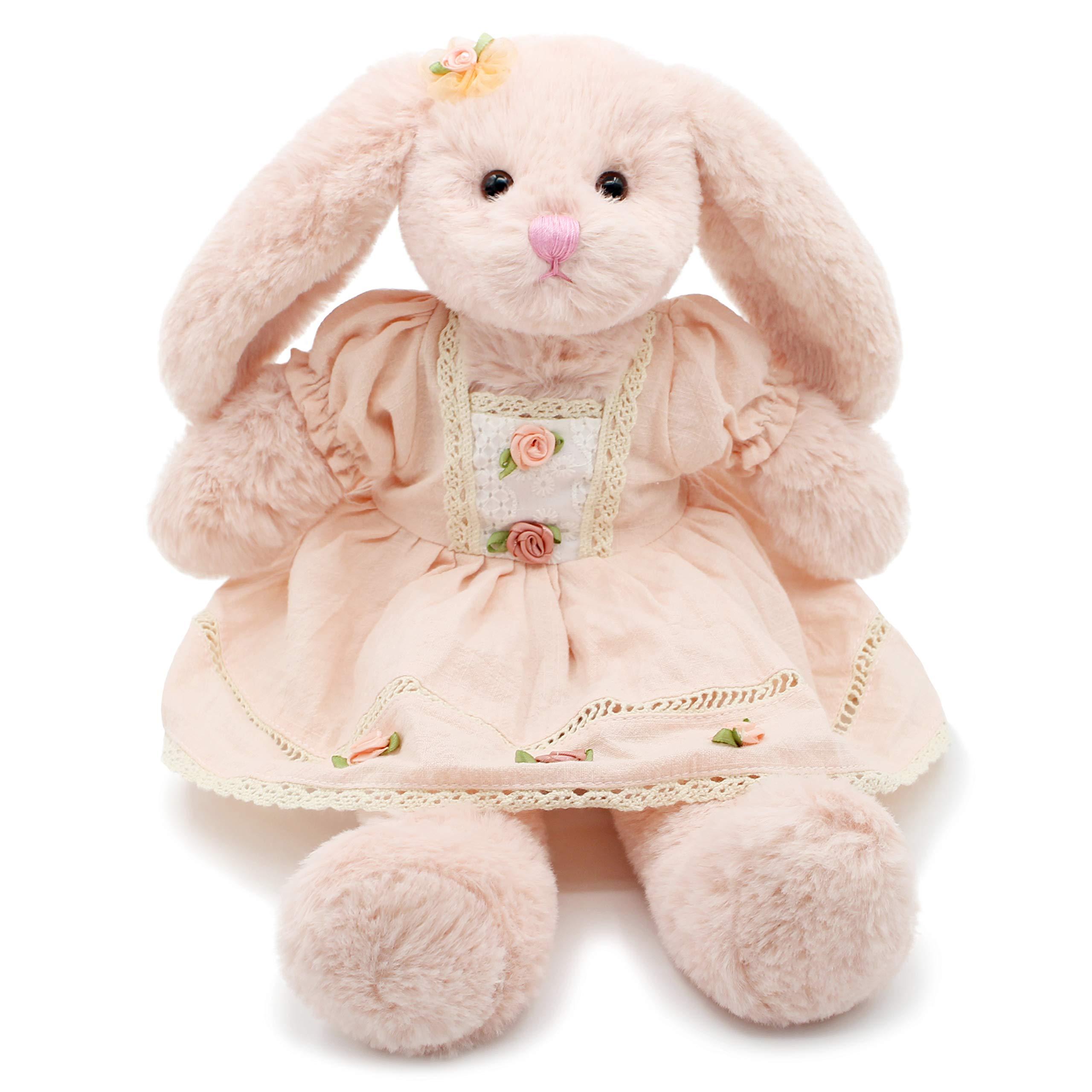 Oitscute Small Soft Stuffed Animal Bunny Rabbit Plush Toy for Baby Girls 15inch (Pink Rabbit Wearing Pink Vintage Dress) by oits cute