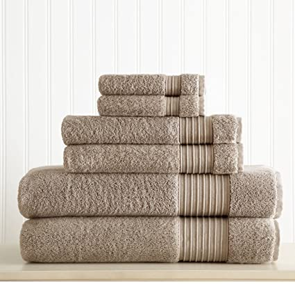 Amazon Com Ph 6 Piece Taupe Solid Color Towel Set With 30 X 54