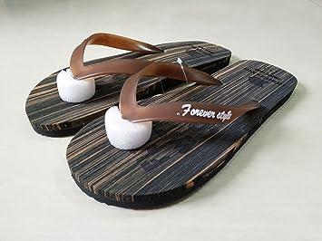 BAOZIV587 - Zapatillas de playa para hombre, estilo simple, imitación de madera, diseño de sandalias y zapatillas de tacón liso y antideslizante 42 marrón ...