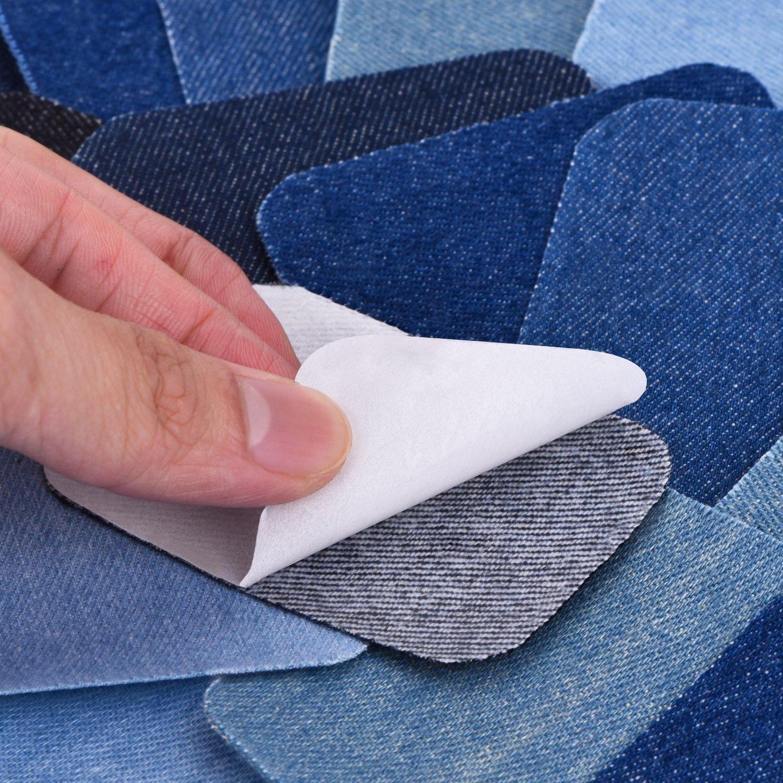 18 Piezas 6 Colores Parches Termoadhesivos Parches de Algodón de Vaqueros Kit de Reparación de Planchar, 3 Tamaños (5 x 5 pulgadas, 3 x 3 pulgadas, 2 ...