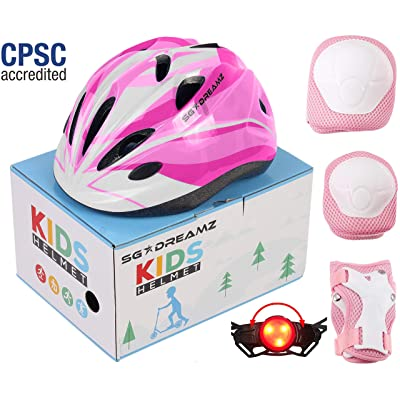 SG Dreamz Kids Helmet with Protective Gear – Adjustable from Toddler to Youth Size Ages 3 to 7 - Nice Package Perfect for Gift - Multi-Sports w LED Safety Light - CSPC Certified (H12+LED+BoxPG+Pink) : Sports & Outdoors