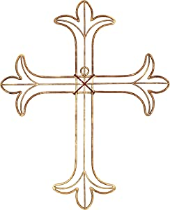 Handcrafted Devotion Through This Beautiful Wall Cross. Adorn Your Home with This Uniquely Crafted Metal Crucifix in an Antiqued Golden Finish 14