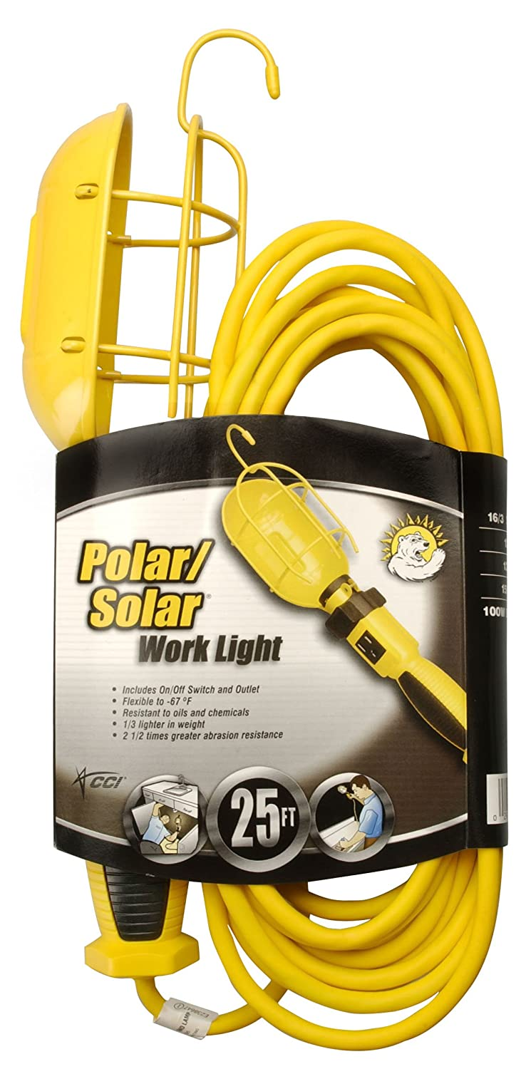 Coleman Cable 5857 16 3 Sjeow Trouble Light With Metal Guard And Wire Switch From Outlet 25 Foot Portable Work Lights