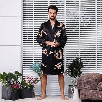fa5d92f52a BridalAffair Mens Satin Robe Silk Long Sleeve House Kimono Bathrobe  Sleepwear Loungewear at Amazon Men s Clothing store