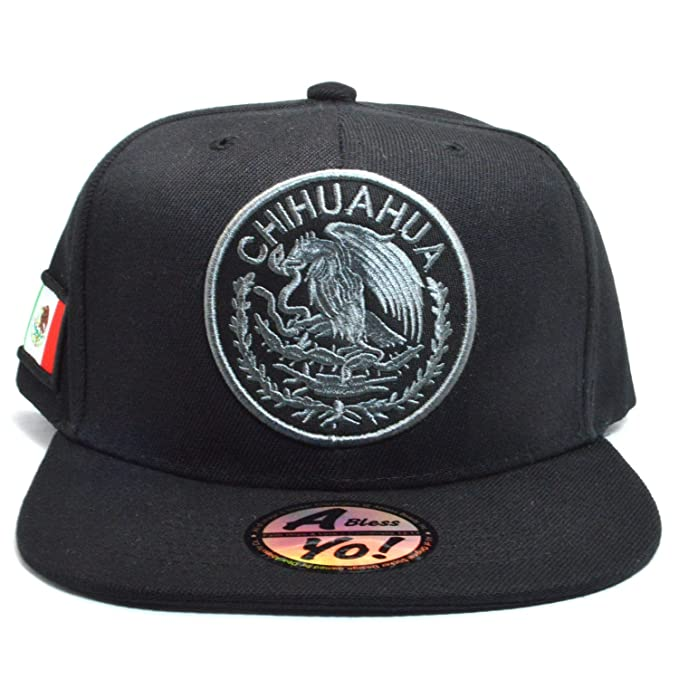 2543a82b92fb1 AblessYo Mexican Hat Mexico Federal Embroidered Snapback Baseball Cap Flat  Bill AYO6028 (Chihuahua)