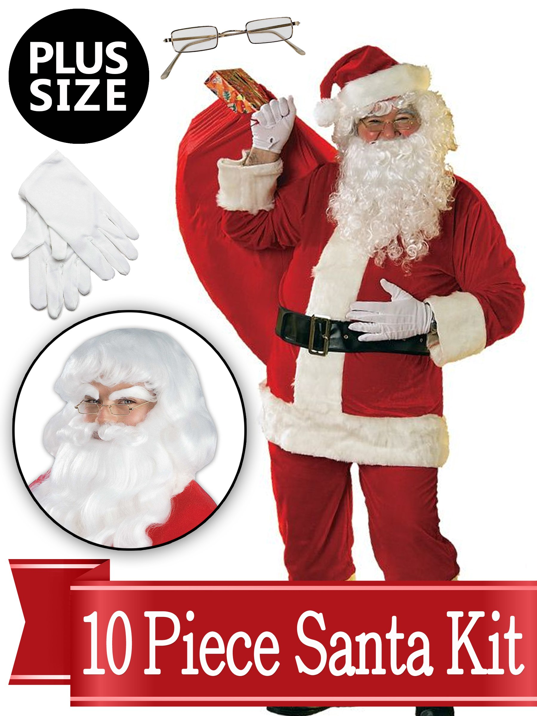 Santa XL Suit - Red Ultra Deluxe Complete 10 Piece Kit - Santa Costume Plush Outfit by BirthdayExpress