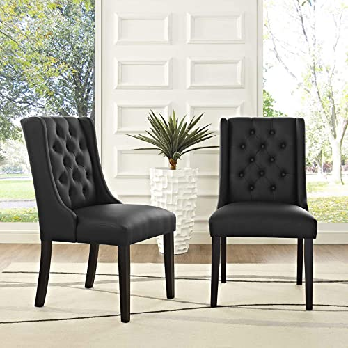 Modway Baronet Modern Tufted Faux Leather Upholstered Two Dining Chairs