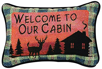 Manual Bear Lodge Throw Pillow, 12 5 X 8 5-Inch, Welcome to Our Cabin