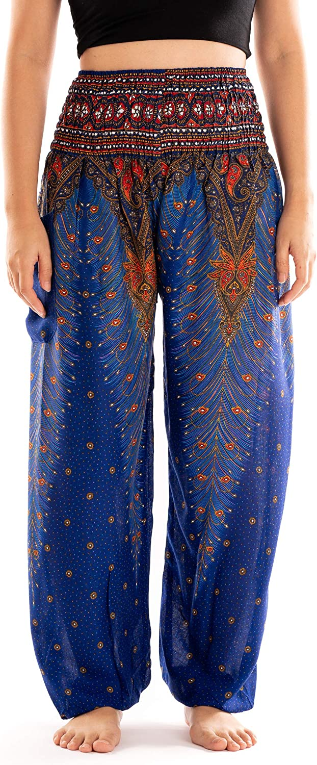 Noonew Womens Smocked Waist Palazzo Yoga Pants Bohemain Boho Hippies Peacock Print Clothing Styles