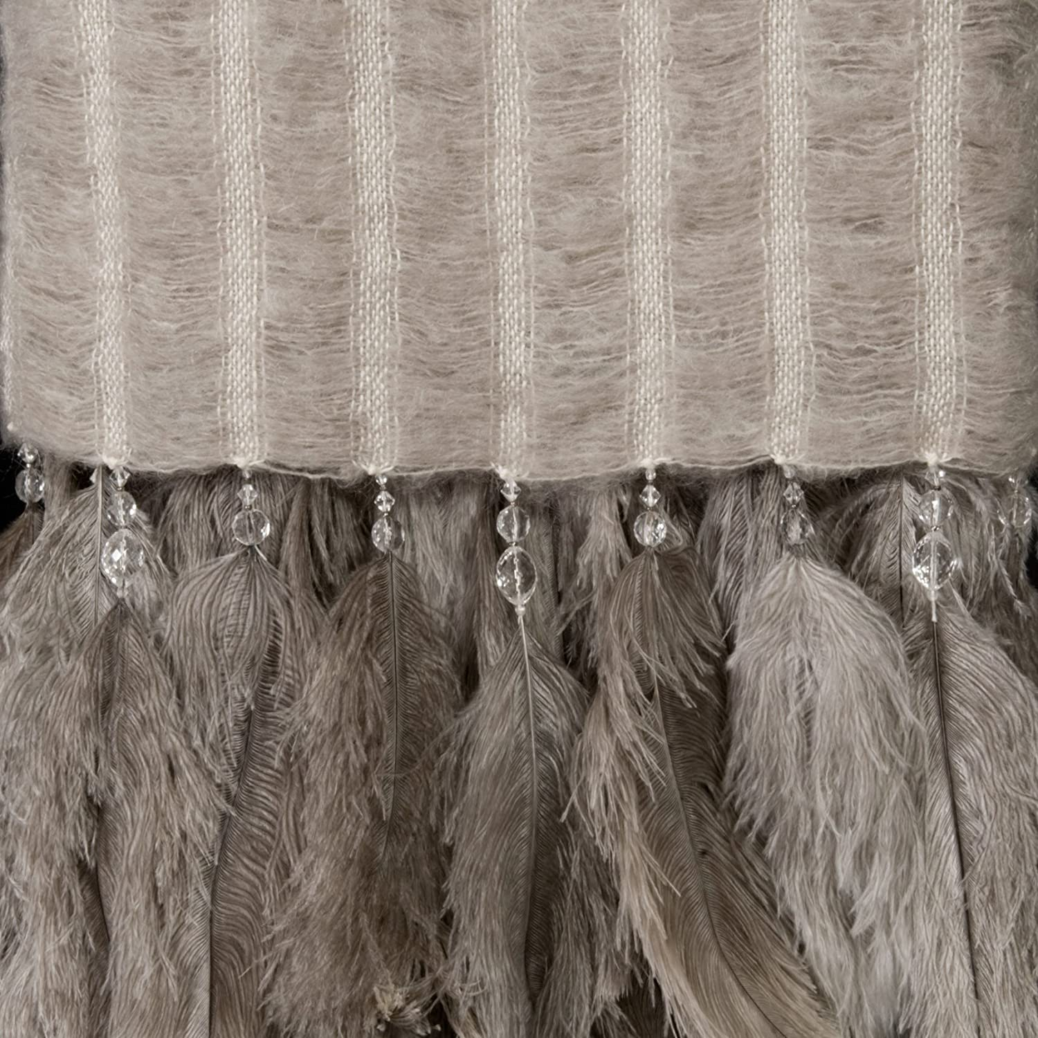 Abafazi Mohair and Ostrich Feather Throw (ライトストーン) B00BOFXLTM