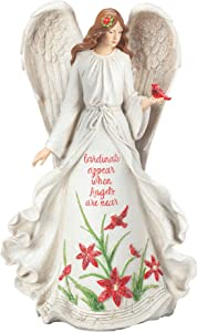 """Roman - Angel with Cardinal Figure, 13"""" H, Resin, Christmas Collection, Home Decor, Adorable Gift, Durable, Beautifully Detailed"""