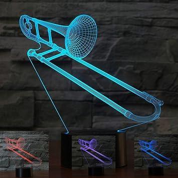 Amazon.com: 3d Saxphone trombón luz de noche mesa ...