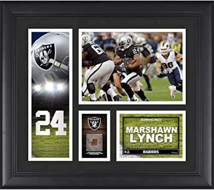 9a6bc2a7a Marshawn Lynch Oakland Raiders Framed 15 quot  x 17 quot  Player Collage  with a Piece of