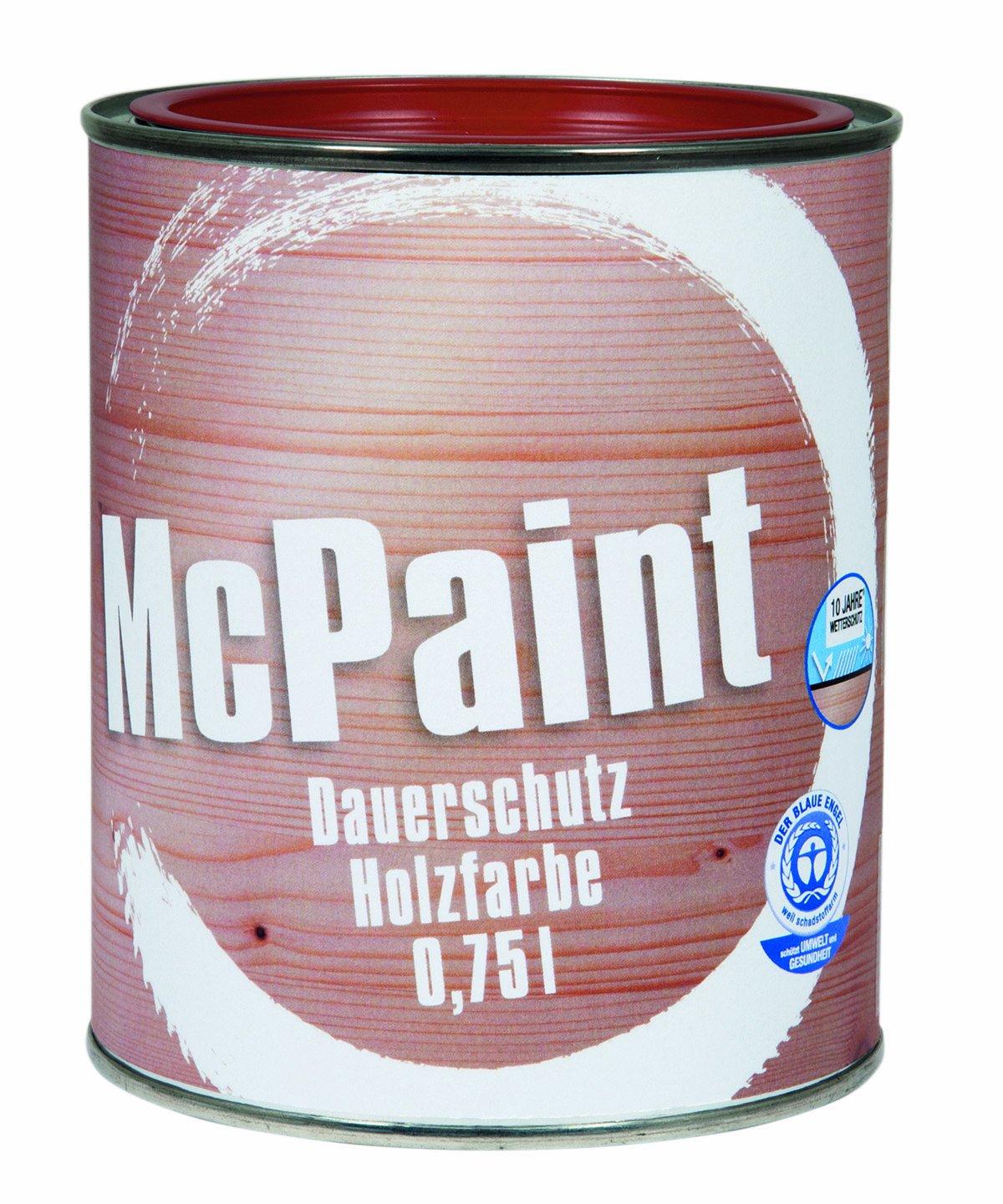 McPaint Wetterschutzfarbe – Holzfarbe für außen auf Acryl Basis mit langanhaltendem Wetterschutz, PU-verstärkt, Möbellack, seidenmatt, 0,750L, Moosgrün - Weitere Farbtöne verfügbar J123407M