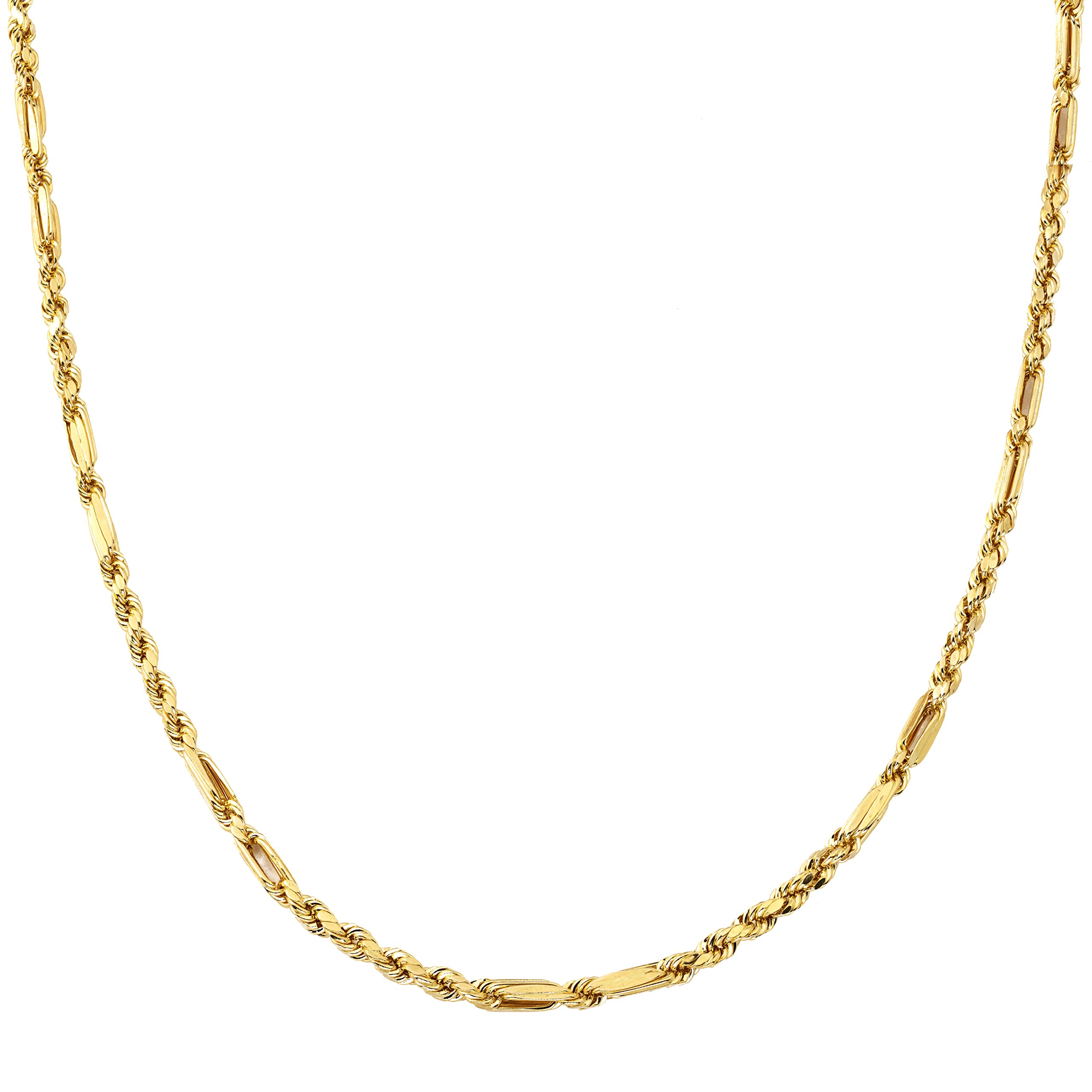 LoveBling 10K Yellow Gold 4mm Diamond Cut FigaRope Milano Chain Necklace with Lobster Lock (24'') by LOVEBLING (Image #2)