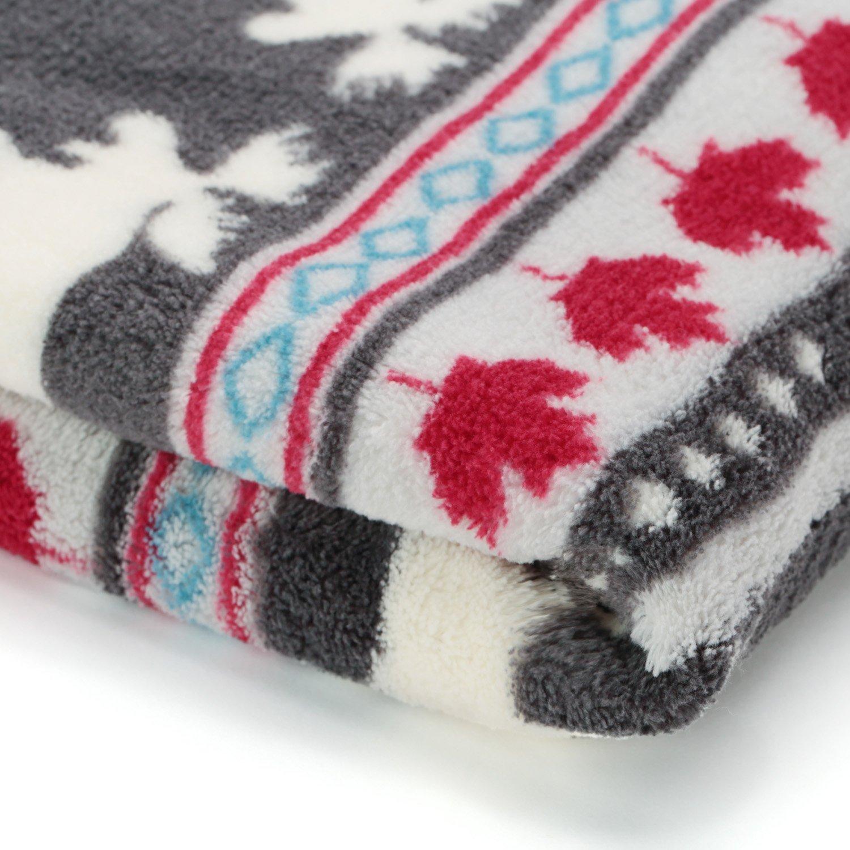 KEMUSI Baby Blanket Throw Xmas Moose Maple Leaf Pattern Grey Background Soft Lightweight Coral Fleece 230GSM 50 x 60